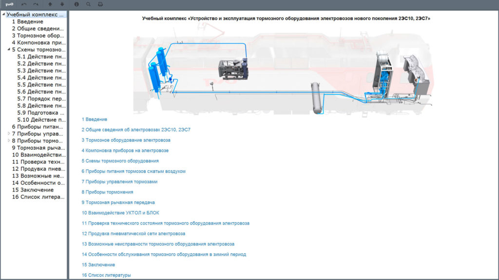 brake 02 1024x576 Электронный учебный комплекс «Устройство и эксплуатация тормозного оборудования электровозов нового поколения 2ЭС10, 2ЭС7»