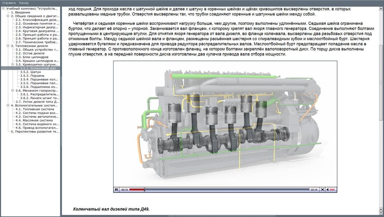 diesel 01 Мультимедийный учебный комплекс «Устройство и принцип работы тепловозных дизелей»