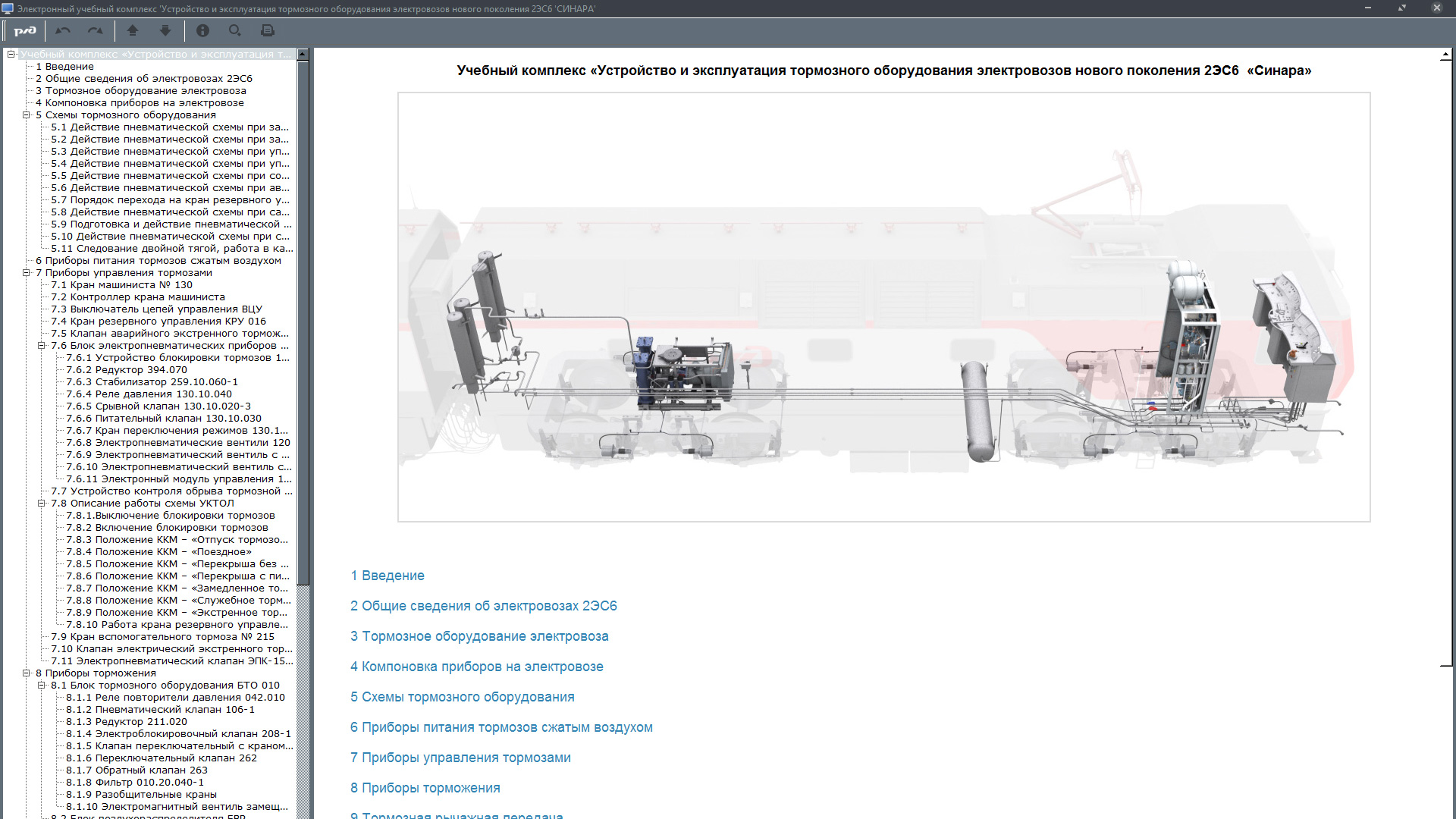 sinara brake 01 Электронный учебный комплекс «Устройство и эксплуатация тормозного оборудования электровозов нового поколения 2ЭС6 «Синара»
