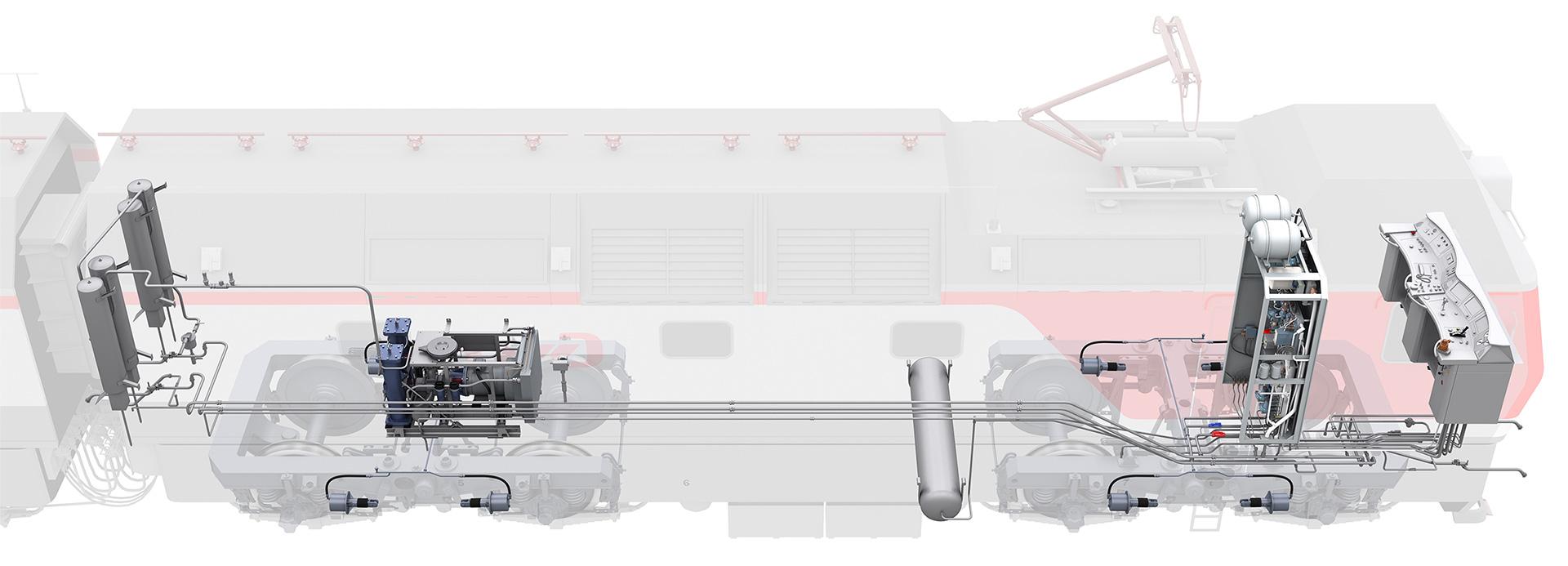 sinara brake 04 Электронный учебный комплекс «Устройство и эксплуатация тормозного оборудования электровозов нового поколения 2ЭС6 «Синара»